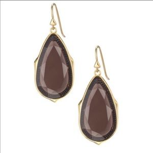 Stella & Dot Stone drop earrings, smoky quartz
